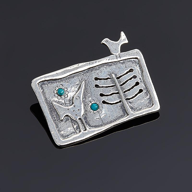 лучшая цена Брошь бирюза (серебро 925 пр.)