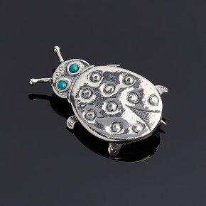 Брошь бирюза Тибет (серебро 925 пр.)