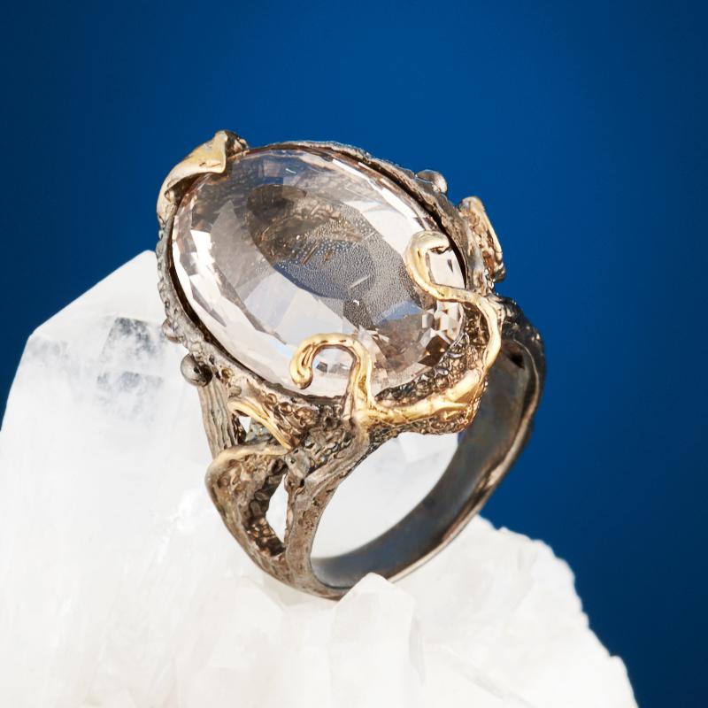 Кольцо топаз серебристый огранка (серебро 925 пр., позолота) размер 17,5 кольцо коюз топаз кольцо т142014227