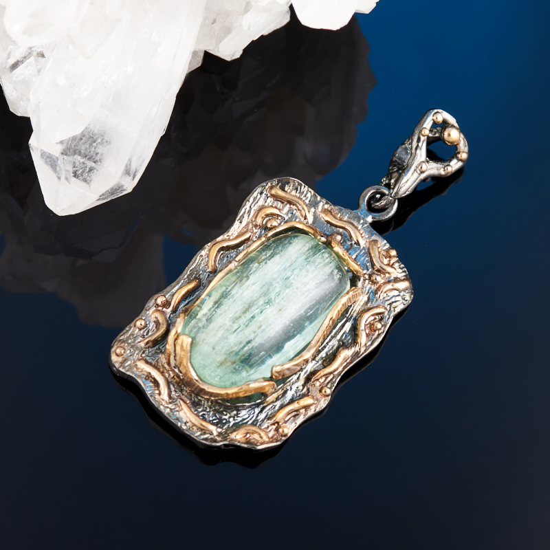 Фото - Кулон аквамарин (серебро 925 пр., позолота) кольцо аквамарин серебро 925 пр позолота размер 18