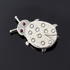 Брошь гранат альмандин Индия (серебро 925 пр.)