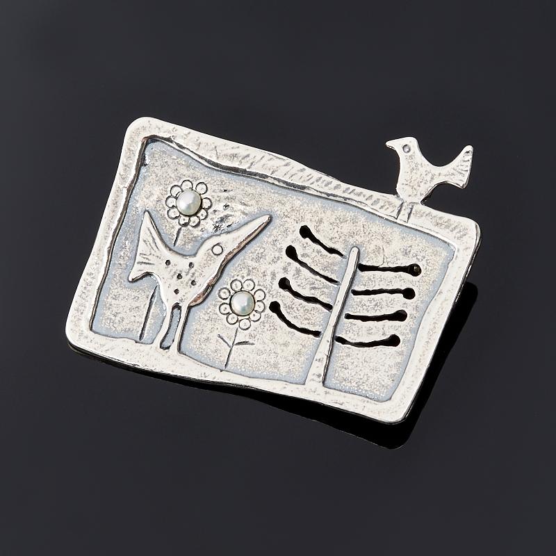 Брошь жемчуг белый (серебро 925 пр.)