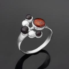 Кольцо янтарь Россия (серебро 925 пр.) размер 17,5