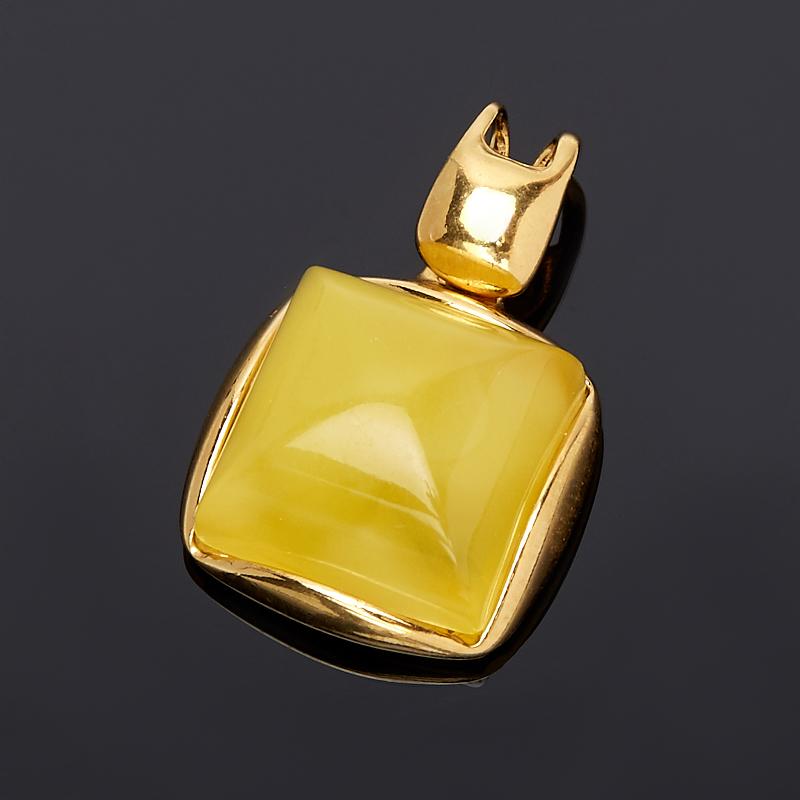 Кулон янтарь  квадрат (серебро 925 пр., позолота)