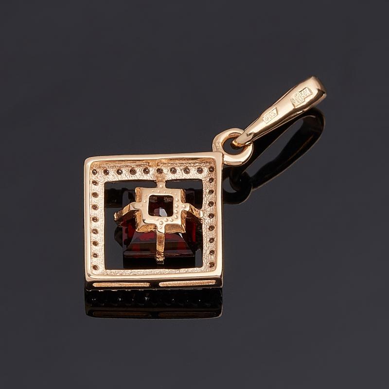 Кулон гранат альмандин Индия ромб огранка (золото 585 пр.)