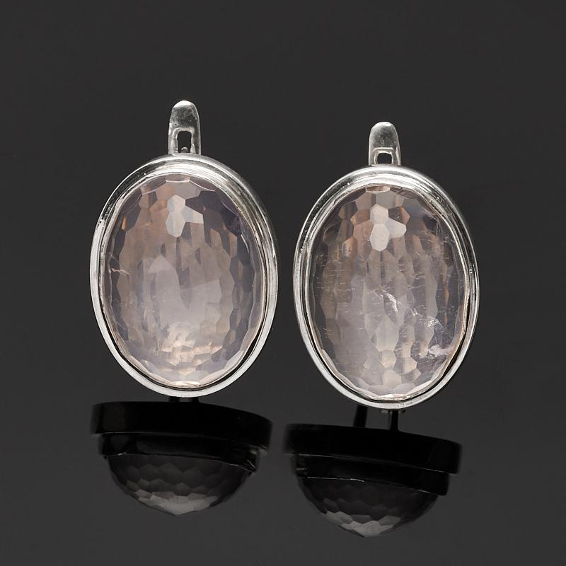 Серьги розовый кварц огранка (серебро 925 пр.)