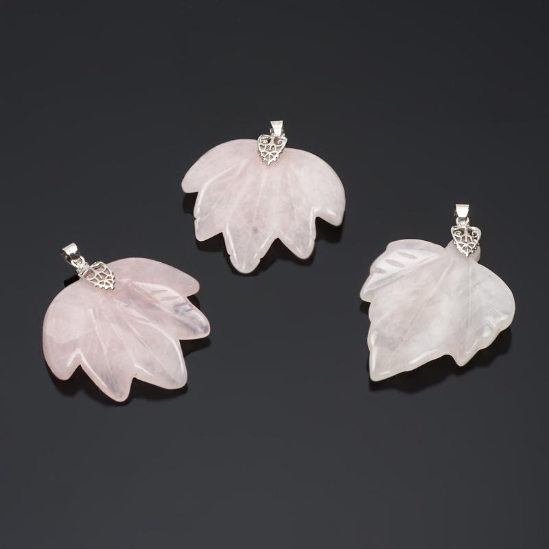 Кулон розовый кварц лист (биж. сплав) 5-6 см