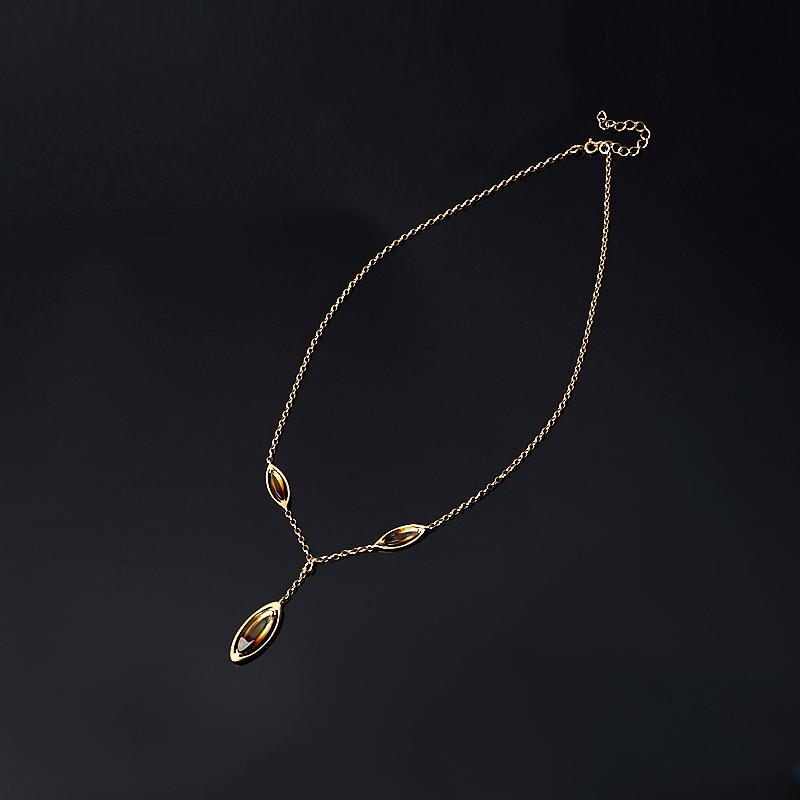 Колье янтарь 42-46 см (серебро 925 пр., позолота)