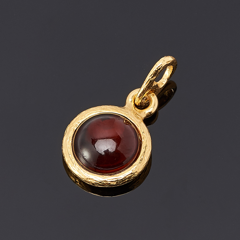 Кулон янтарь круг (серебро 925 пр., позолота)