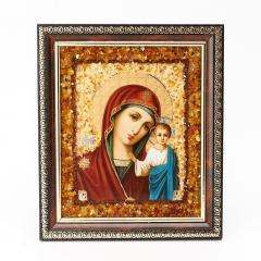 Изображение янтарь Россия Богоматерь Казанская 14х16 см