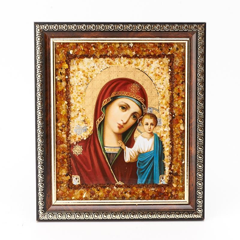 Изображение Казанская икона Божией Матери янтарь 14х16 см