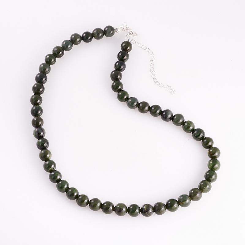 цена на Бусы нефрит зеленый 9 мм 45 см (+7 см) (хир. сталь)