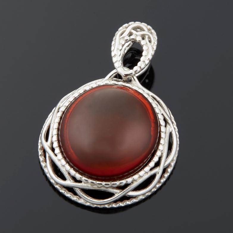 Кулон янтарь овал (серебро 925 пр.)