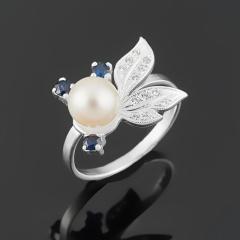 Кольцо микс жемчуг, сапфир (серебро 925 пр. родир. бел.) размер 17