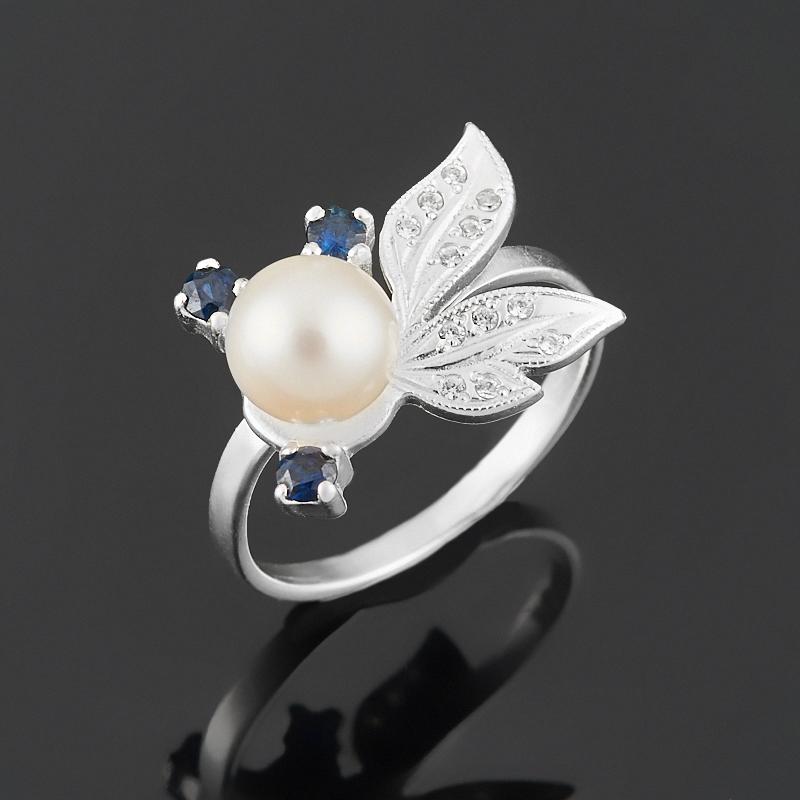 Кольцо микс жемчуг, сапфир (серебро 925 пр. родир. бел.) размер 18