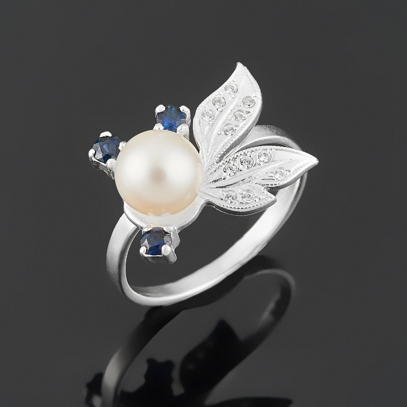 Кольцо микс жемчуг, сапфир (серебро 925 пр. родир. бел.) размер 19
