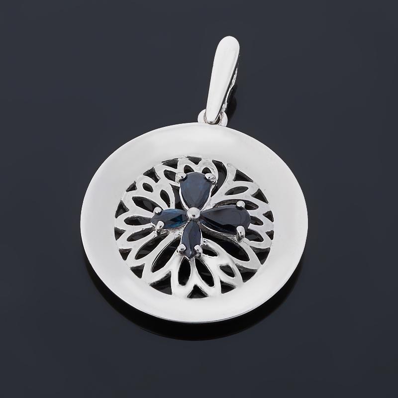 Кулон сапфир круг огранка (серебро 925 пр.)