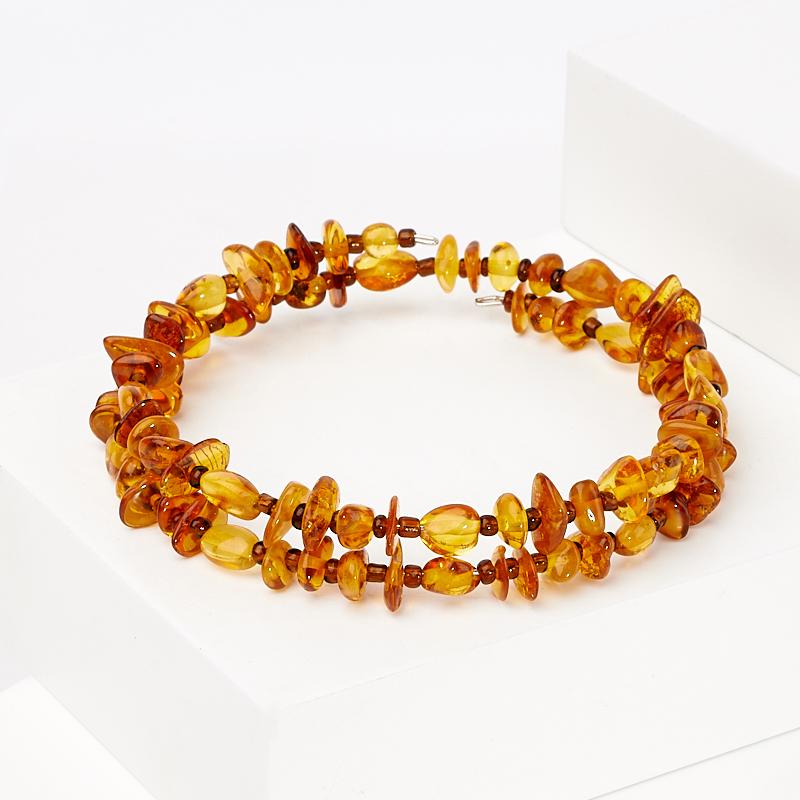 Браслет янтарь пружина 19 см (биж. сплав) цена