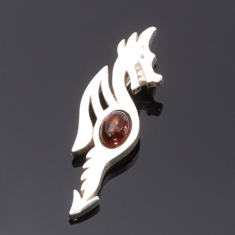 Кулон янтарь дракон (латунь посеребр.) 3,5 см am 1560 фигурка корабль ладья славянская латунь янтарь