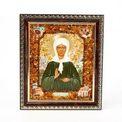 Изображение янтарь Россия Святая Матрона 14х17 см