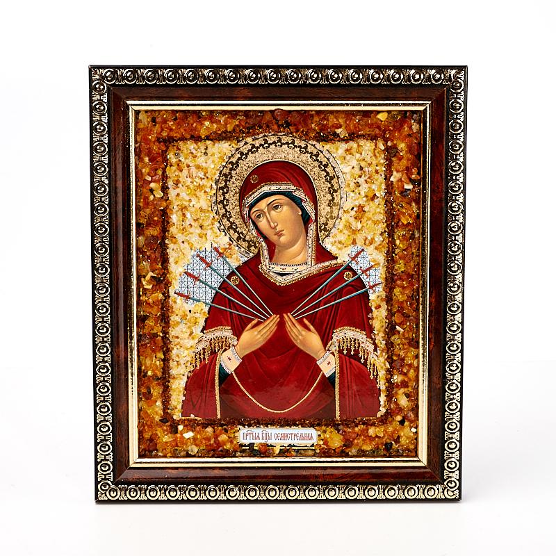 Изображение янтарь Богоматерь Семистрельная 14х17 см