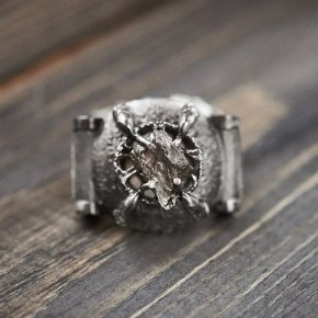 Кольцо метеорит Аргентина (серебро 925 пр.) размер 21