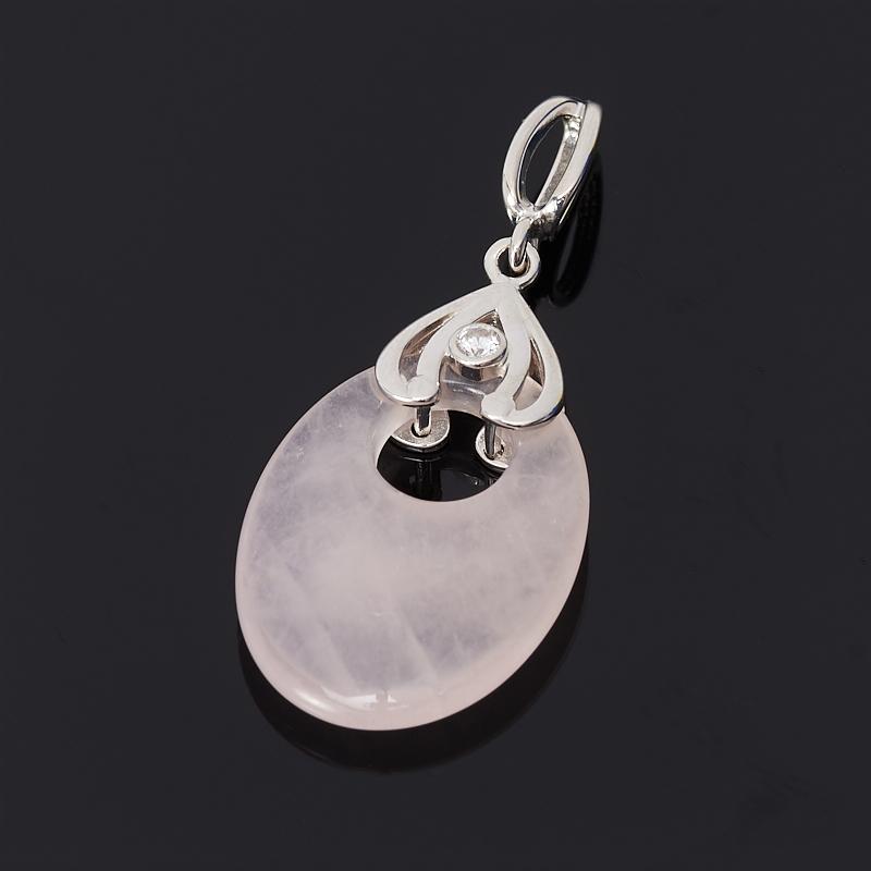 Кулон розовый кварц (серебро 925 пр.) цена