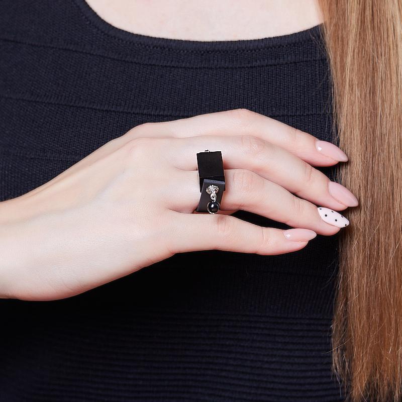 Кольцо гагат Грузия (каучук) размер 16,5