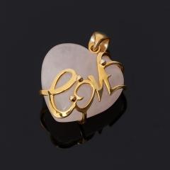 Кулон розовый кварц Бразилия сердечко (серебро 925 пр., позолота)