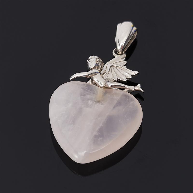 Кулон розовый кварц сердечко (серебро 925 пр.)