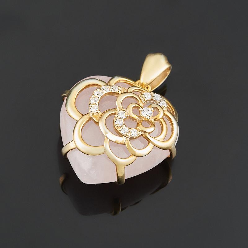 Кулон розовый кварц сердечко (серебро 925 пр., позолота) цена