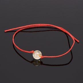 Браслет цитрин Бразилия красная нить 8 мм регулируемый