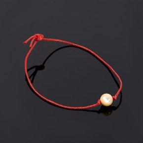 Браслет перламутр бежевый Индонезия красная нить 8 мм регулируемый