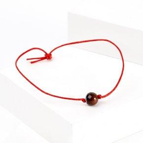 Браслет агат серый Ботсвана красная нить 8 мм регулируемый