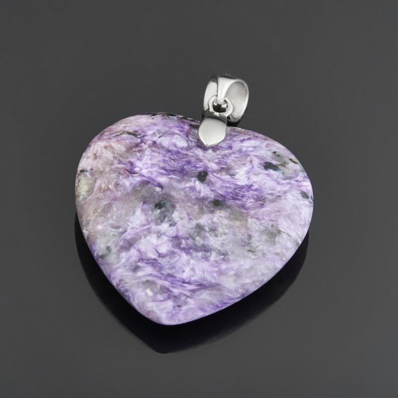 Кулон чароит сердечко (хир. сталь) 4,5 см браслет чароит 17 см хир сталь