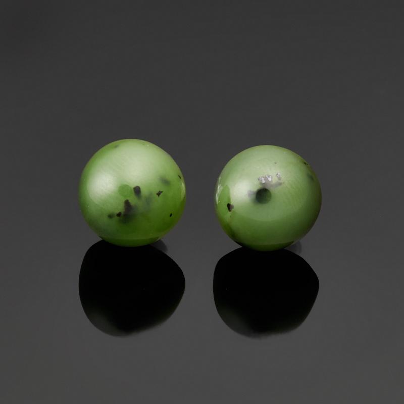 Серьги нефрит зеленый пуссеты (биж. сплав)