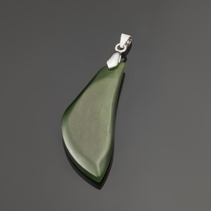 Кулон нефрит зеленый (биж. сплав) 6,5 см браслет классика 8 нефрит револю