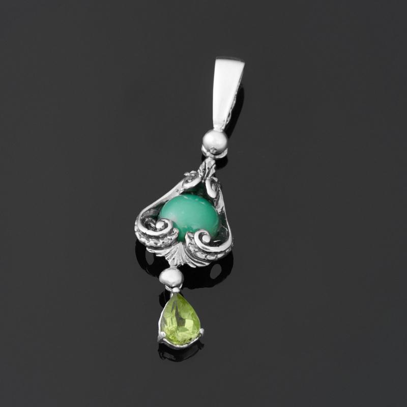 Кулон микс хризопраз, хризолит (серебро 925 пр.) кулон серебристого цвета сердечки микс цветов qa 535 1 5см