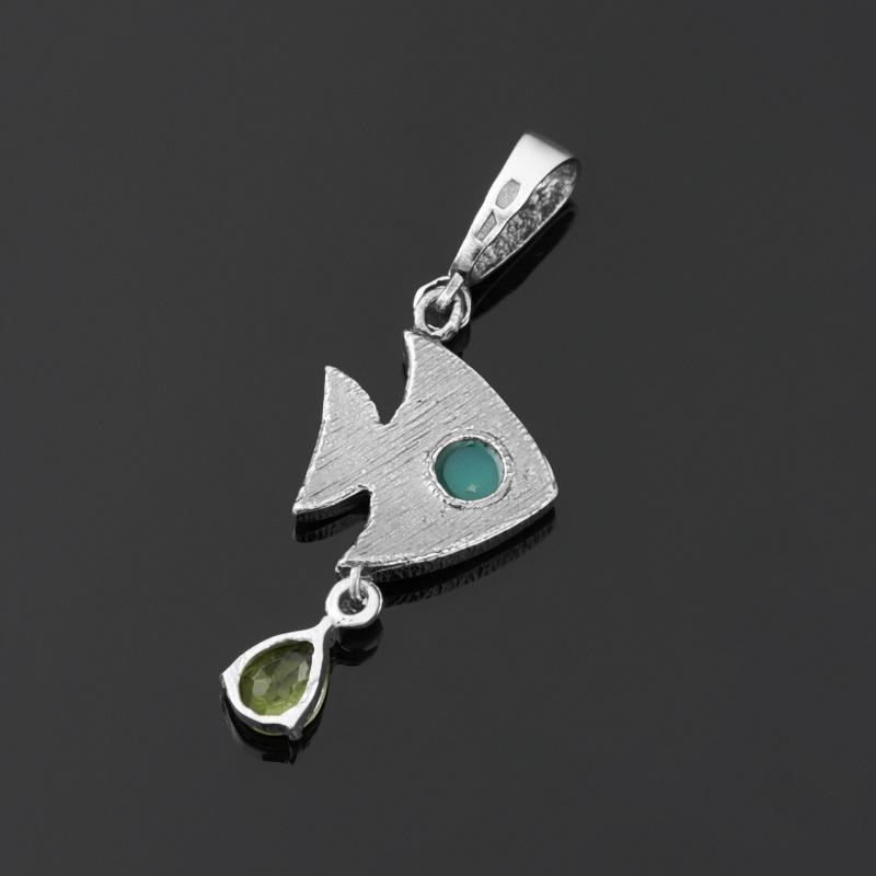 Кулон микс хризолит, хризопраз рыба (серебро 925 пр. оксидир.)