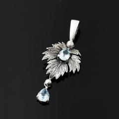 Кулон топаз голубой Бразилия лист огранка (серебро 925 пр. оксидир.)