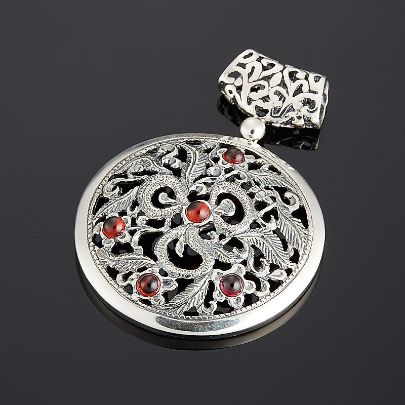 Кулон микс гранат, турмалин круг (серебро 925 пр.) кулон серебристого цвета сердечки микс цветов qa 535 1 5см