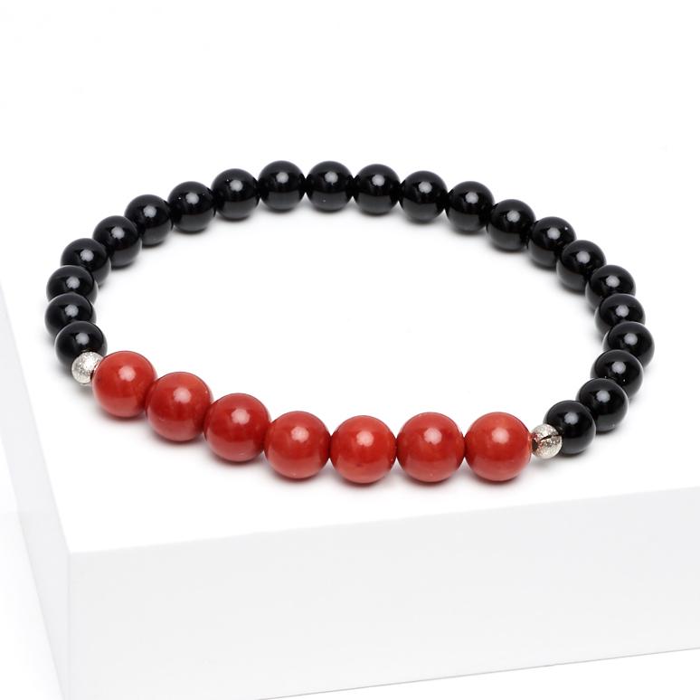 Браслет агат черный, коралл красный 18 см (биж. сплав) интеллектуальный полный черный браслет браслет h5h6