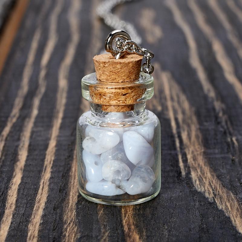 Кулон агат голубой  бутылочка (биж. сплав) 3 см