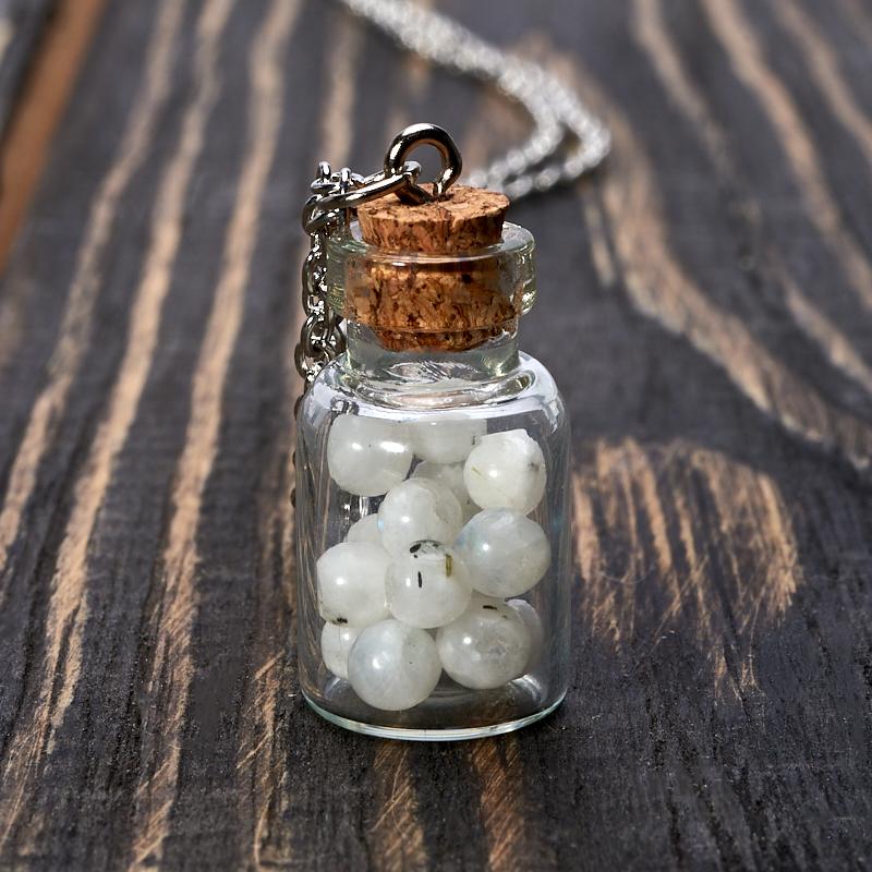 Кулон лунный камень бутылочка (биж. сплав) 3 см кулон гранат альмандин бутылочка биж сплав 3 см
