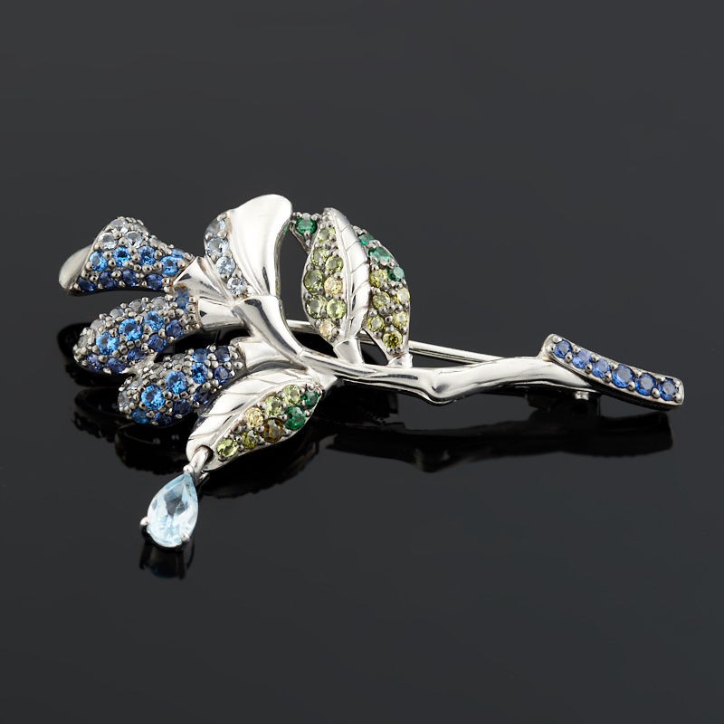 Брошь топаз голубой огранка (серебро 925 пр.) украшение для волос топаз голубой огранка заколка серебро 925 пр
