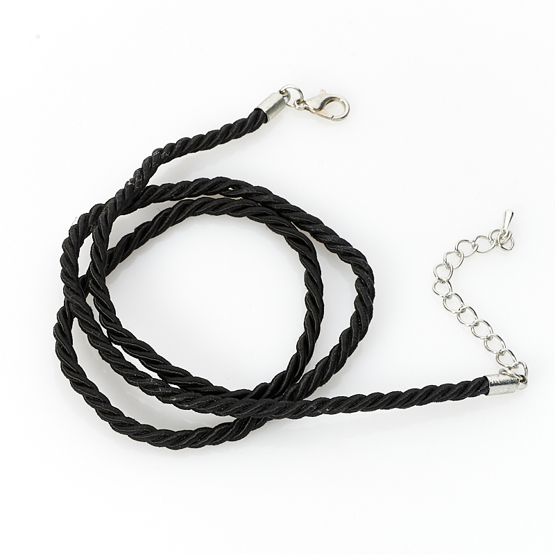 Шнурок черный 49 см (текстиль+нейлон)