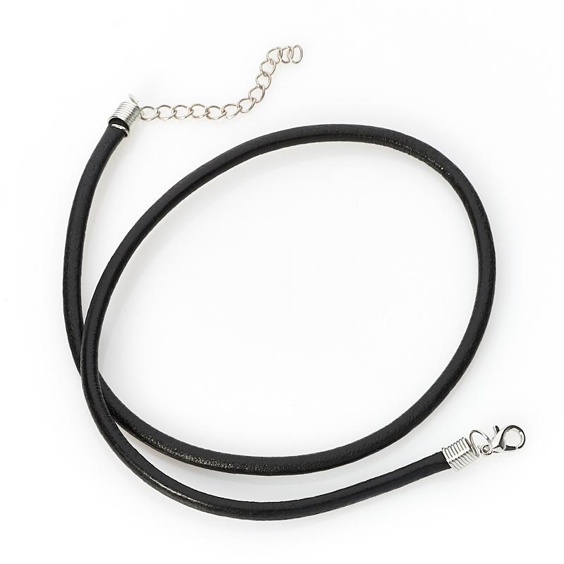 Шнурок (черный) 46 см (+4 см) (кожа иск.) шнурок коричневый 46 см 4 см иск кожа