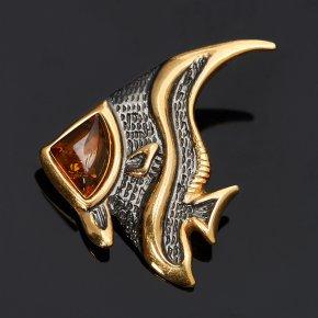Кулон янтарь Россия рыба (серебро 925 пр., позолота)