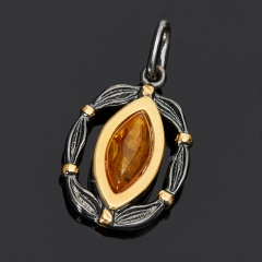 Кулон янтарь Россия (серебро 925 пр. родир. черн. позолота)