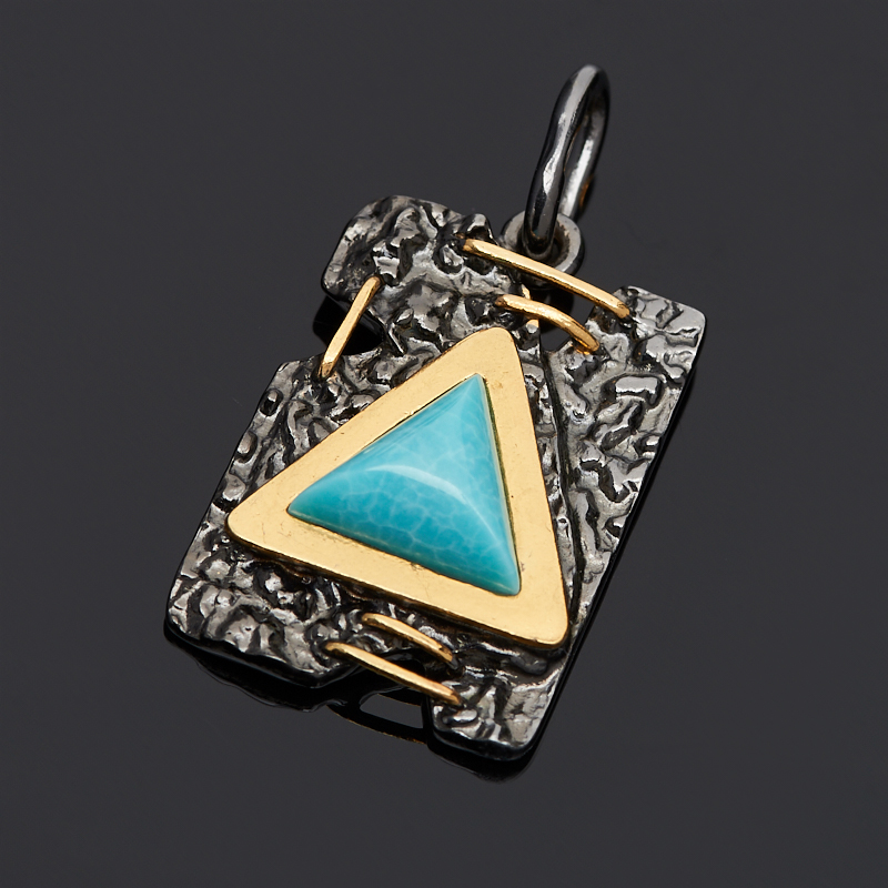 Кулон бирюза прямоугольник (серебро 925 пр., позолота) кулон лунный камень прямоугольник серебро 925 пр